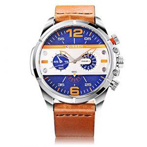 CURREN Marque de luxe Hommes Quartz Lumineux Montre Bracelet En Cuir Étanche Mode Sport Montres-bracelets (FYLove, neuf)