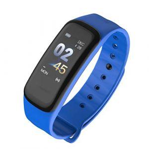 UKCOCO C1S Écran Couleur Smart Bracelet Bracelet Intelligent Moniteur de Fréquence Cardiaque Fitness Tracker IP67 Étanche Moniteur De Sommeil Bluetooth Smartband Bleu (Vessy, neuf)
