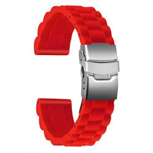 Ullchro Bracelet Montre Haute Qualité Remplacer Silicone Bracelet Montre Link Pattern - 16mm, 18mm, 20mm, 22mm, 24mm Caoutchouc Montre Bracelet avec Boucle Déployante Acier Inoxydable (22mm, Rouge) (Ullchro-EU, neuf)