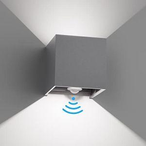 Klighten Applique murale à LED avec détecteur de mouvement, 12W blanc froid, allumage / extinction automatique, Éclairage mural extérieur / intérieur pour jardin, voie d'accès, Gris (Vovoye, neuf)