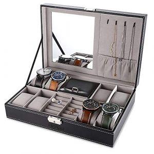 Boîte de montre Boîte à montre, EleLight 8 grilles Quartz en bois Montre bijoux vitrine Hommes Femmes Bracelet Plateau PU Coffret en cuir avec serrure et miroir noir (Boîte de montre) (AiSiWeiDianZi, neuf)