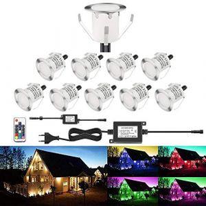 Lot de 10 LED Spot Extérieur Encastrable Lumière de Terrasse Escalier Piscine Enterré Plafonnier,LED Encastrable Lampe Etanche 0.1-0.3W Pour Chemin,RGB [Classe énergétique A] IP67 DC12V RSWLED (Shangchen, neuf)
