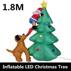 Modèle de Noël auto-expansible gonflable du père Noël, décorations de Noël gonflables mignonnes avec la décoration de Noël de fan, approprié à la cour, décoration de jardin (M Monica, neuf)