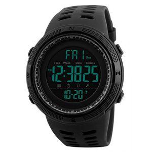 Montre militaire digitale multifonction pour homme, noir (QBD Watches, neuf)