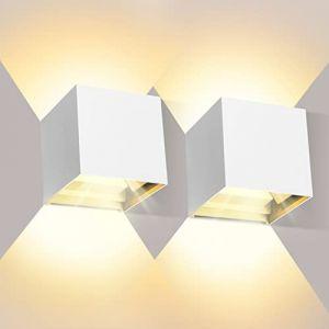 Applique Murale Interieur 12W 2 pièces Étanche IP65 Angle de faisceau réglable Appliques Murales Salon Blanc chaud 2800K (ezon europe, neuf)