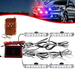 KaiDengZhe 4x4 LED 4 en 1 Stroboscopique Avertissement DC12V Urgence Clignotant Balise Lampe Sans Fil À Distance Stroboscope Lumière Urgence Lumière Externe Pour Camion Remorque (Rouge Bleu) (KaiDengZhe, neuf)