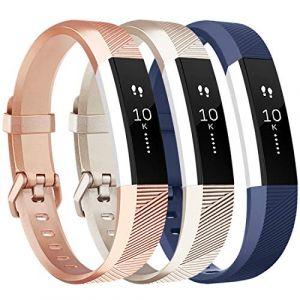 Tobfit Bracelet pour Fitbit Alta/Fitbit Alta HR Replacement en TPU Confortable Réglable Sport Bracelet Accessorie pour Fitbit Alta et Alta HR (No Tracker) (3-Pack Rose Gold+Gold+Bleu, Grand) (SMXMY-CN, neuf)