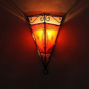 L1061 Applique murale orientale marocaine Emrah Orange   Belle lampe de Henna Taille H34 x L23 x P17 cm   Armature de lampe en fer   Abat-jour en cuir   Artisanat d'art en Marrakesch   L1061 (Casamoro, neuf)