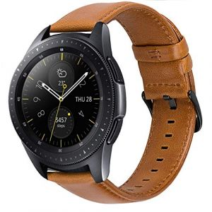 iBazal 20mm Bracelet Cuir Libération Rapide Bandes Strap Compatible avec Samsung Galaxy Watch 42mm/Active 40mm/Gear S2 Classic/Sport Bands Remplacement pour Huawei 2,Ticwatch 2/E Hommes - Marron/Negro (ibazal, neuf)