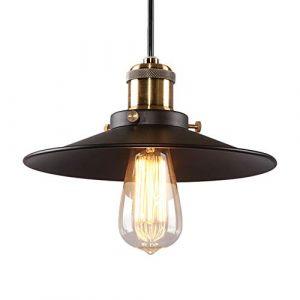 Lampe à Suspension Vintage Vintage, Lustre Rétro Industriel, COCOL Bar E27 Lampe à Suspension, Lustre Industriel en Métal, Suspension Style Roue avec Wave Retro Réglable-Noir (Color : Single head A) (LITTLE DEVIL, neuf)