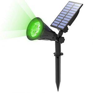 T-SUN Lampe Solaire Extérieur, Solaire Projecteur, Extérieur sans Fil Etanche IP65 Lampe Jardin avec Panneau Solaire 180° Réglable Spot Solaire Extérieur pour Cour, Extérieur, Chemin, Allé. (Vert) (T-SUNLED, neuf)