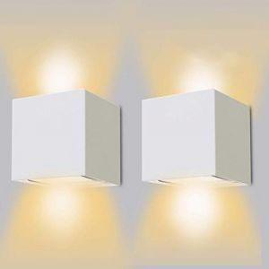 12W Applique Murale Interieur/Exterieur,Lampe Murale LED Etanche IP65 Réglable Lampe Up Down Design 3000K Blanc Chaud Appliques Murales pour Salon Chambre Chemin Lot de 2(Blanc) (Priv Europe, neuf)