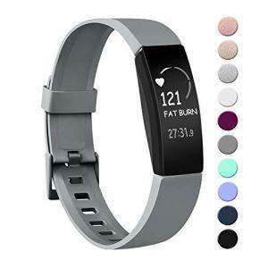 Amzpas Compatible pour Fitbit Inspire Bracelet & Fitbit Inspire HR Bracelet, Classique Bracelet Bande de Remplacement Compatible pour Fitbit Inspire HR(05 Gris,L) (SMXMY-CN, neuf)