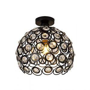 Moderne Plafonnier Industriel Noir Lustre Abat-jour cristal en Métal E27, Suspension Luminaire éclairage pour Salon Chambre Café Bar Restaurent Salle à Manger (30cm) (DOO2U, neuf)