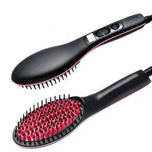 Brosse à lisser cheveux ionique, brosse à air chaud peigne à lisser en céramique peigne ionique avec fonction anti-Scald, affichage LED (Xinduolan, neuf)