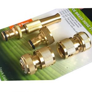 Tech Traders Lot de 4 raccords de tuyaux en laiton, pour tuyau de jardin, robinet tuyau d'arrosage, connecteurs rapides et embouts de buse de pulvérisation (MEERO, neuf)