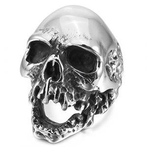 MunkiMix Acier Inoxydable Anneau Bague Ton d'argent Crâne Taille 54 Homme (MunkiMix Bijoux, neuf)