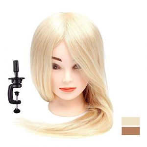 """18""""-26"""" Blond Training Hairdressing Head 100% Real Human Hair Cosmetology Practice Mannequin Manikin Head Doll 24""""&150g (LUBOT, neuf)"""