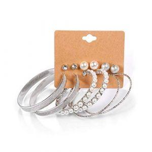 Bijoux de dames 6 paires de boucles d'oreilles assorties strass perle ronde Hoop Dangle Earrings for les femmes (shenzhenshihengkelongshangmaoyou xiangongsi, neuf)