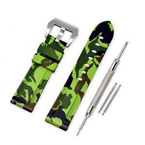 VINBAND Bracelet Montre Camo Remplacer Silicone Bracelet Montre - 20mm, 22mm, 24mm, 26mm Caoutchouc Montre Bracelet avec Acier Inoxydable Boucle for Panerai (24mm, Light Green) (vinband direct, neuf)