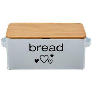 Grande boîte à pain en métal de couleur blanche avec couvercle en bambou comme planche de tailleur Dimensions 33x18x12cm avec circulation d'air (postenqueen Inh. Jasmin Bajramovic, neuf)