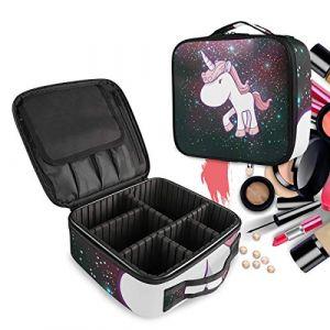 Licorne Rose Univers Cheval De Licorne Trousse Sac Cosmétique Organisateur de Maquillage Pochette Sacs Cas avec Cloisons Amovibles pour Voyage Les Femmes Filles (LDIYEU, neuf)