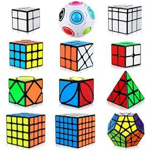 Aiduy Cube Magique, 12 pièces Speed Cube Pyramide Cube Triangle Cube Pyraminx Cube 2x2 3x3 4x4 5x5, Megaminx Speedcube Puzzle pour Les Enfants (Aitoy, neuf)