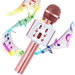 FISHOAKY Mircophone Karaoké sans Fil, Portable Micro Bluetooth pour Enfants Chanter, Fête, Enregistrement, Compatible avec Android/iOS/Smartphone (FishOaky Sport, neuf)