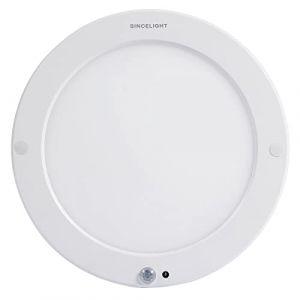 Plafonnier à détecteur de mouvement à LED avec capteur de lumière (du crépuscule à l'aube) commutable à deux modes, éclairage de sécurité, montage en surface ultra mince, pilote intégré (SINCELIGHT, neuf)