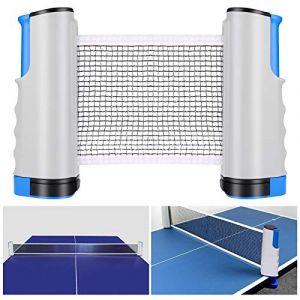 Tencoz Filet de Ping Pong, Filet de Tennis de Table Rétractable pour Table d'extérieur Filet Réglable Filet de Voyage Portable, Accessoires pour Intérieur et Extérieur(Gris Bleu) (XH-Store, neuf)