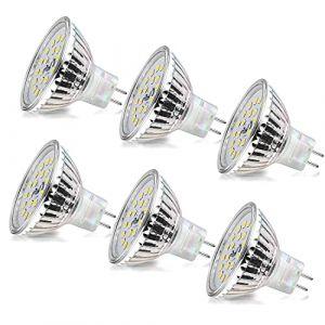 MR16 LED Blanc Froid Wowatt Ampoule GU5.3 12V 6W Equivalent à 40W 35W Lampe d'Halogène AC/DC 12V Ampoules LED MR16 6000K 510LM Lumineux 120° Angle Faisceaux Ø50x45mm Non Dimmable Lot de 6 (wowatt, neuf)