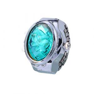Montre de luxe quartz strass montre de bague ovale de la couverture Mini Watch, montre-bracelet réglable Mini doigt montre femme,Mintgreen (LANDENG, neuf)