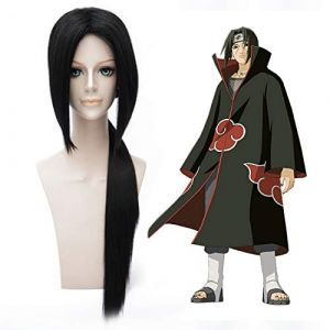 Perruque HOOLAZA noire longue droite avec une perruque de cochon Naruto Uchiha Itachi Cosplay (HOOLAZA FR, neuf)