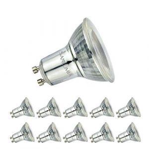 Sanlumia | 6W LED Spot Culot GU10 | 500LM | équivaut 75W halogène | Blanc Froid 6400K | LED Light Lampe | 38° Larges Angle de FaisceauLED|Finition Verre | Lot de 10 Ampoules (Sanlumia, neuf)