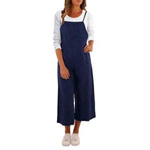 ACHIOOWA Femme Salopette Longue Combinaison Jumpsuit Casual Ample Harem Sarouel Pantalon Marine M (Athenawin, neuf)