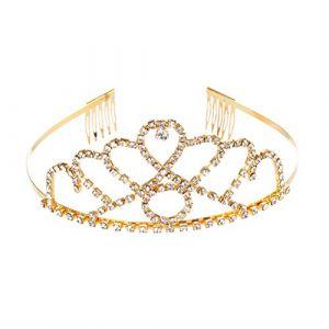 Couronne de luxe cristal cheveux cerceau anniversaire mariage accessoires de cheveux coiffure bande de cheveux pour les femmes filles (Ansuen, neuf)