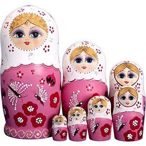 YAKELUS,marquedepoupéesgigognes,7pièces, Série de Poupées Russes Matriochkas Poupee Russes 7 pieces en Bois Peints? fabricationmanuelle,,cadeaux,jouets (YAKELUS UK, neuf)