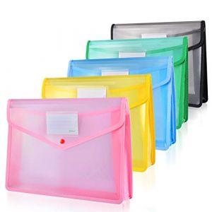 ipow 5PCS Pochette Plastique A4 à Bouton Pression Polypropylène Porte-document Enveloppe Transparente Chemise peut Contenir jusqu'à 800 Feuilles,Classer des papiers Fente pour Carte -5 Couleurs sergé (Ipow-Official, neuf)