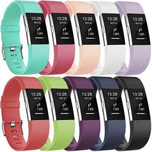 Gogoings Bracelet pour Fitbit Charge 2 - Bracelet Silicone Fitbit Bande de Rechange Réglable Souple Sport Compatible avec Fitbit Charge2 pour Femme & Homme (sans Montre) - Lot de 10 (CHENZHILIN, neuf)