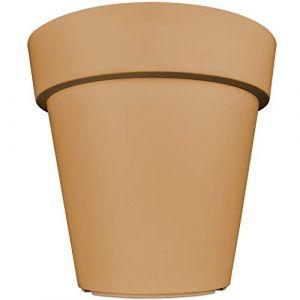 Pot de Fleurs Plantes jardinière XXL Lofly en Plastique Cache-Pot - 49x46cm - Mocca (FR-DEUBA, neuf)