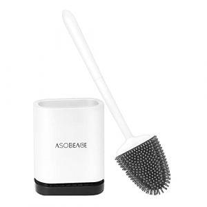 ASOBEAGE Brosse de Toilette, Brosse de Toilette en Silicone avec Support à séchage Rapide pour Toilette de Salle de Bain (Blanc) (ASOBEAGE, neuf)