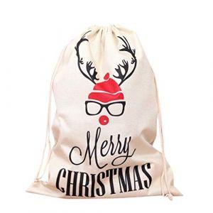 Sac Cadeau Noël Sachet Pochette Sac à Cordon Sac De Stockage De Noël - Sac De Jute en Toile De Jute - Réutilisable pour Bonbons Cadeaux Bijoux Mariage Fête Noël Kits de Fêtes pour Les Enfants Serria (Serria, neuf)