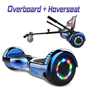 COLORWAY Overboard Hover Scooter Board Gyropode Bluetooth SUV 6.5 Pouces, Scooter Electrique Moteur 700W Tout-Terrain, Self-Balance Board avec Roues LED Flash + Hoverkart (Bleu LED) (WestMax, neuf)