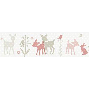 lovely label Frise murale adhésive enfant à motifs bambi turquoise-gris-beige - Frise chambre enfant garçon de 450 x 11.5 cm - Décoration murale chambre bébé (design your home, neuf)