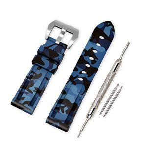VINBAND Bracelet Montre Camo Remplacer Silicone Bracelet Montre - 20mm, 22mm, 24mm, 26mm Caoutchouc Montre Bracelet avec Acier Inoxydable Boucle for Panerai (24mm, Blue) (vinband direct, neuf)