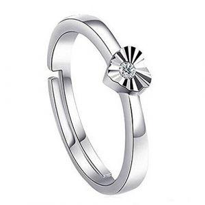 Sanwood® pour femme/homme plaqué argent zircon Couple Bague de fiançailles, Silver, for Women (Broadfashion, neuf)