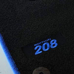 Car Lux AR05790 – Tapis sur mesure en velours avec bordure bleue pour 208 à partir de 2012 (Car Lux, neuf)