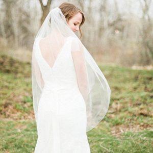 Aukmla Voile de Mariée à 2 Niveaux avec Peigne - en Tulle Doux, Accessoire de Cheveux (Arrive au bout des doigts) (Simsly-UK, neuf)