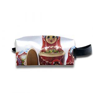 Trousses de maquillage Petites poupées gigognes russes colorées Trousse à cosmétiques pour filles Trousse de maquillage Girly carrée de grande capacité avec fermeture à glissière pour femmes et fill (Lvzihao, neuf)