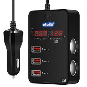 Prise Allume Cigare Atolla Voiture Allume Cigare 3 Ports USB + 2 Prises Allumes-Cigares Avec Tension Surveillance Voltmètre Tester pour Batterie Et Affichage Led 12/24V (bauihr, neuf)